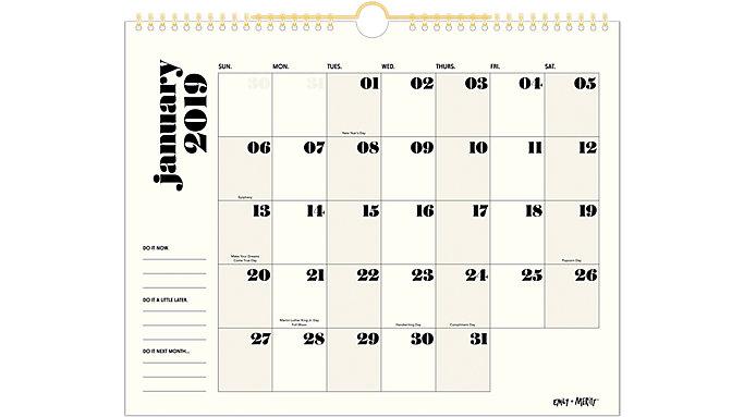 Emily + Meritt The Black and White Wall Calendar  (EM100-707)