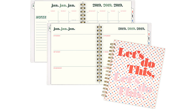 Emily + Meritt The Affirmation Ditsy Heart Weekly-Monthly Planner  (EM100-805)
