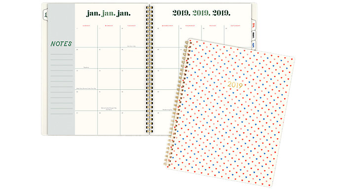 Emily + Meritt The Ditsy Heart with Foil Monthly Planner  (EM100-900)