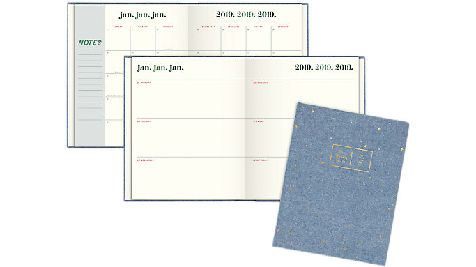 Emily + Meritt The Chambray Foiled Scattered Star Weekly-Monthly Planner  (EM100-903)