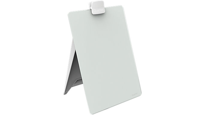 Quartet Glass Dry Erase Desktop Easel 9x11 White Surface Frameless  (GDE119)