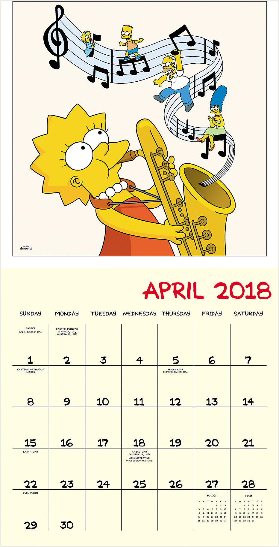 The Simpsons Wall Calendar | HTH516 | Mead