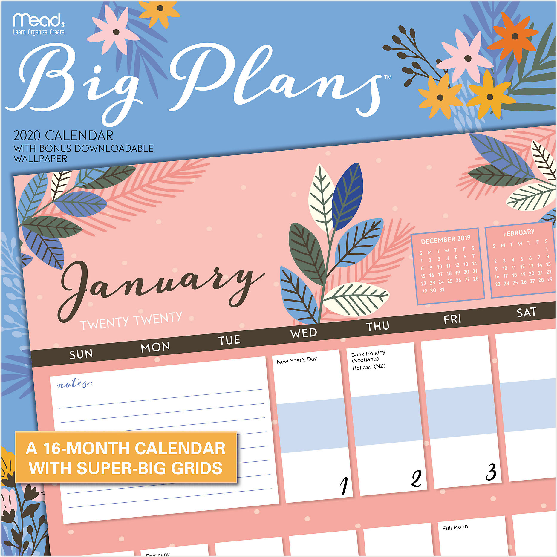 Calendar Of Events Reading Pa December 16, 2020 Big Plans 12x12 Monthly Wall Calendar | LME206 | Mead
