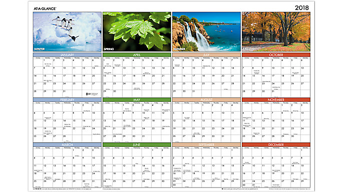 AT-A-GLANCE Seasons in Bloom Erasable Wall Calendar  (PA133)