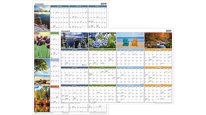 AT-A-GLANCE Seasons in Bloom Erasable Wall Calendar  (PA133)