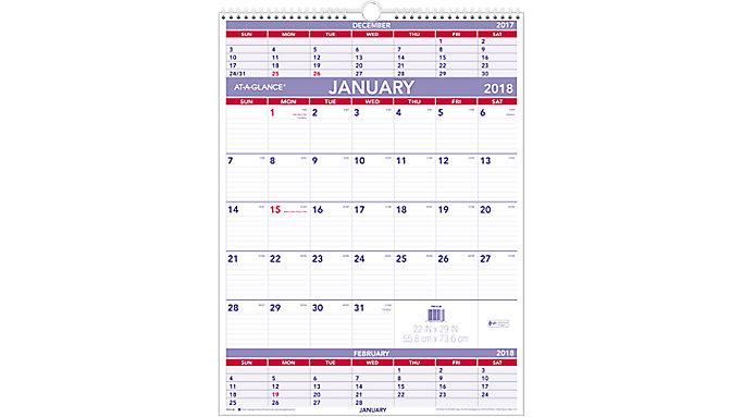 AT-A-GLANCE Three-Month Wall Calendar  (PM10)