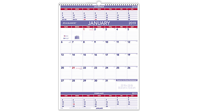 AT-A-GLANCE Three-Month Wall Calendar  (PM10)