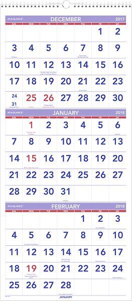At-A-Glance 3-Month Vertical Wall Calendar - Wall Calendars