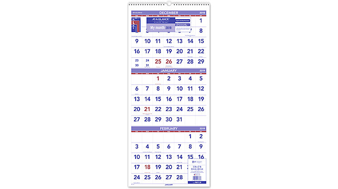 AT-A-GLANCE 3-Month Vertical Wall Calendar  (PM11)