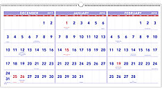 Three-Month Horizontal Wall Calendar (Item # PM14)