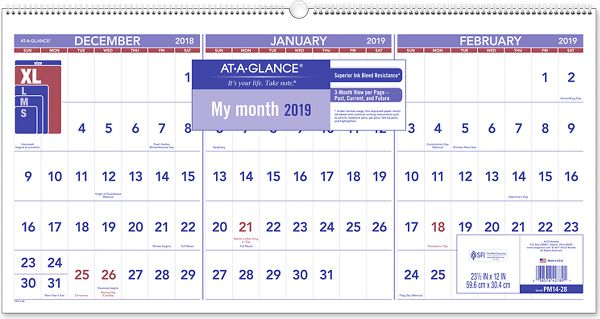 At-A-Glance 3-Month Reference Horizontal Wall Calendar -