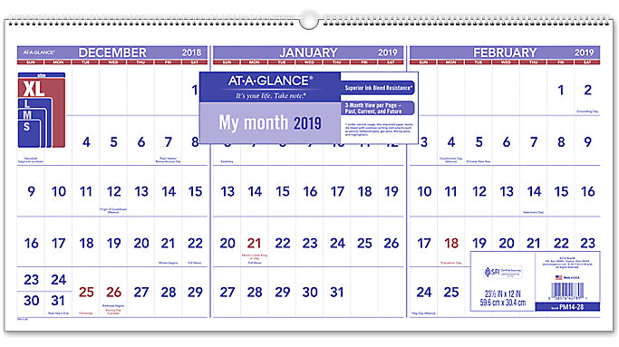 3 month reference horizontal wall calendar pm14 at a glance