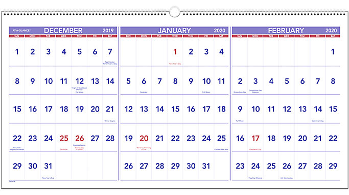 At A Glance Calendar.At A Glance 3 Month Reference Horizontal Wall Calendar