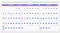 3-Month Reference Horizontal Wall Calendar (Item # PM14)