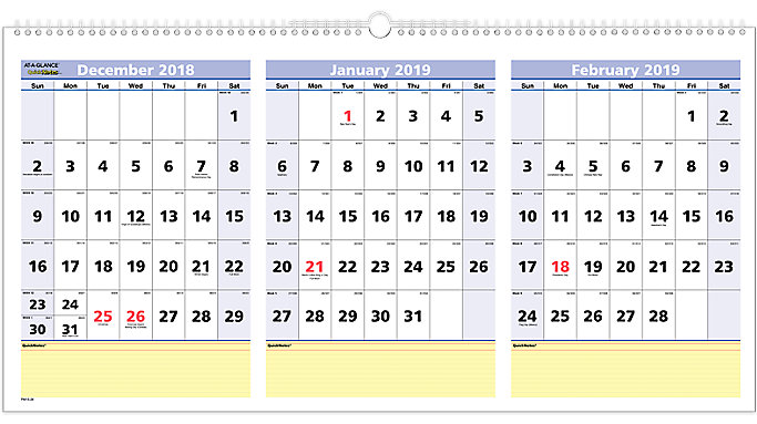 quicknotes 3 month wall calendar pm15 at a glance