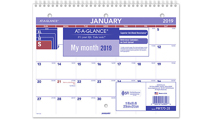 AT-A-GLANCE Monthly Desk-Wall Calendar  (PM170)