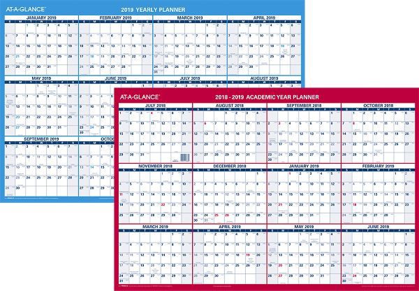 At-A-Glance 2-Sided Horizontal Erasable Wall Calendar - Academic Planning