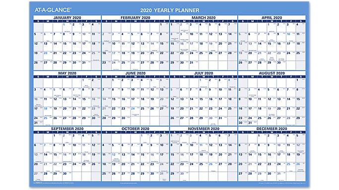 AT-A-GLANCE 2-Sided Horizontal Erasable Wall Calendar  (PM200S)