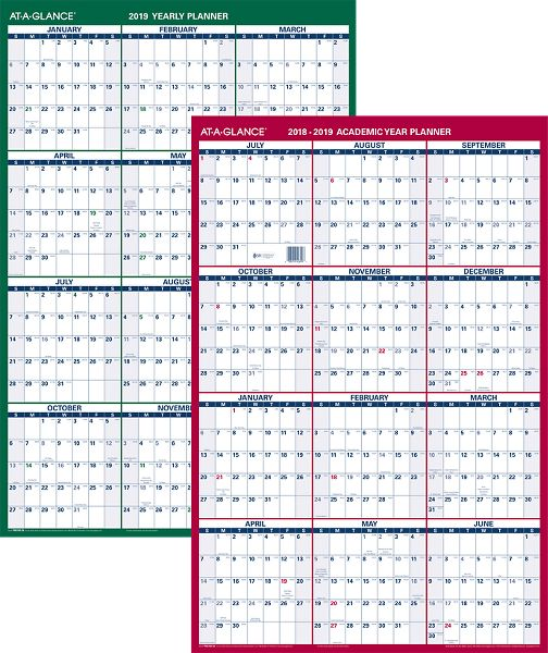 At-A-Glance 2-Sided Vertical Erasable Wall Calendar - Academic Planning