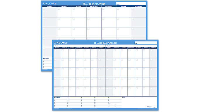 AT-A-GLANCE 30-60 Day Undated Horizontal Erasable Wall Calendar  (PM233)
