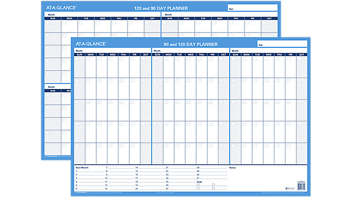 90 Day Calendar.At A Glance 90 120 Day Undated Horizontal Erasable Wall Calendar