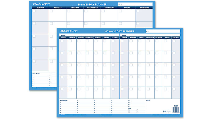 At A Glance Calendar.At A Glance 30 60 Day Undated Horizontal Erasable Wall Calendar