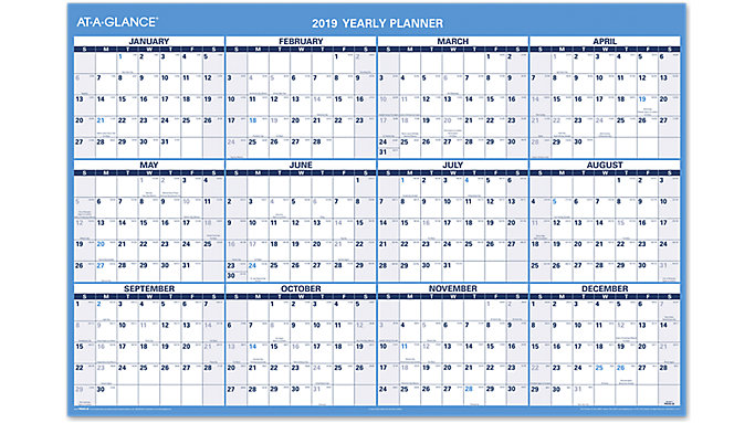 AT-A-GLANCE XL Horizontal Erasable Wall Calendar  (PM300)