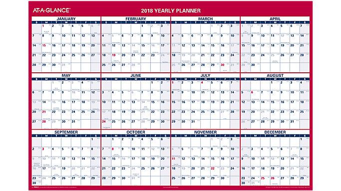 AT-A-GLANCE XL 2-Sided Erasable Wall Calendar  (PM326)