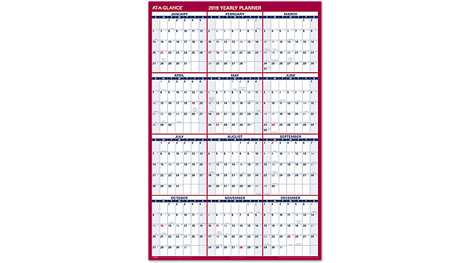 AT-A-GLANCE XL 2-Sided Erasable Wall Calendar  (PM326)