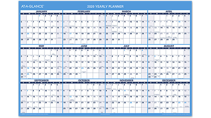 AT-A-GLANCE Horizontal Yearly Erasable Wall Calendar  (PM326S)