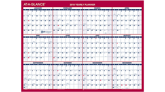 AT-A-GLANCE Reversible Compact Erasable Wall Calendar  (PM330B)