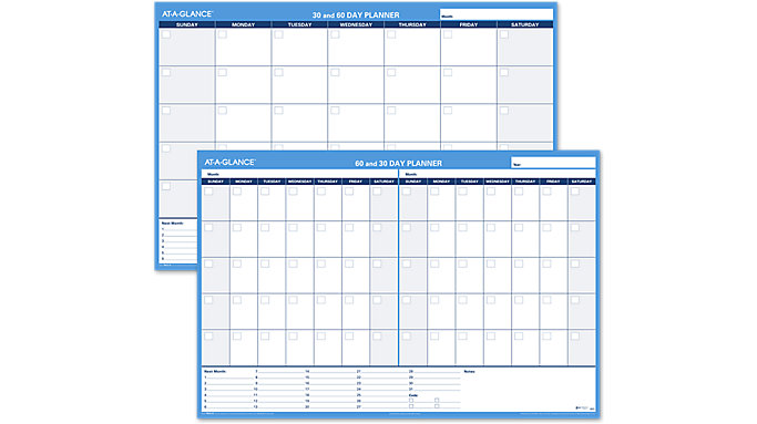 AT-A-GLANCE XL 30-60 Day Undated Horizontal Erasable Wall Calendar  (PM333)
