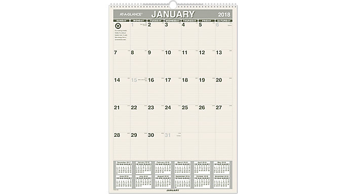 AT-A-GLANCE Recycled Monthly Wall Calendar  (PM3G)