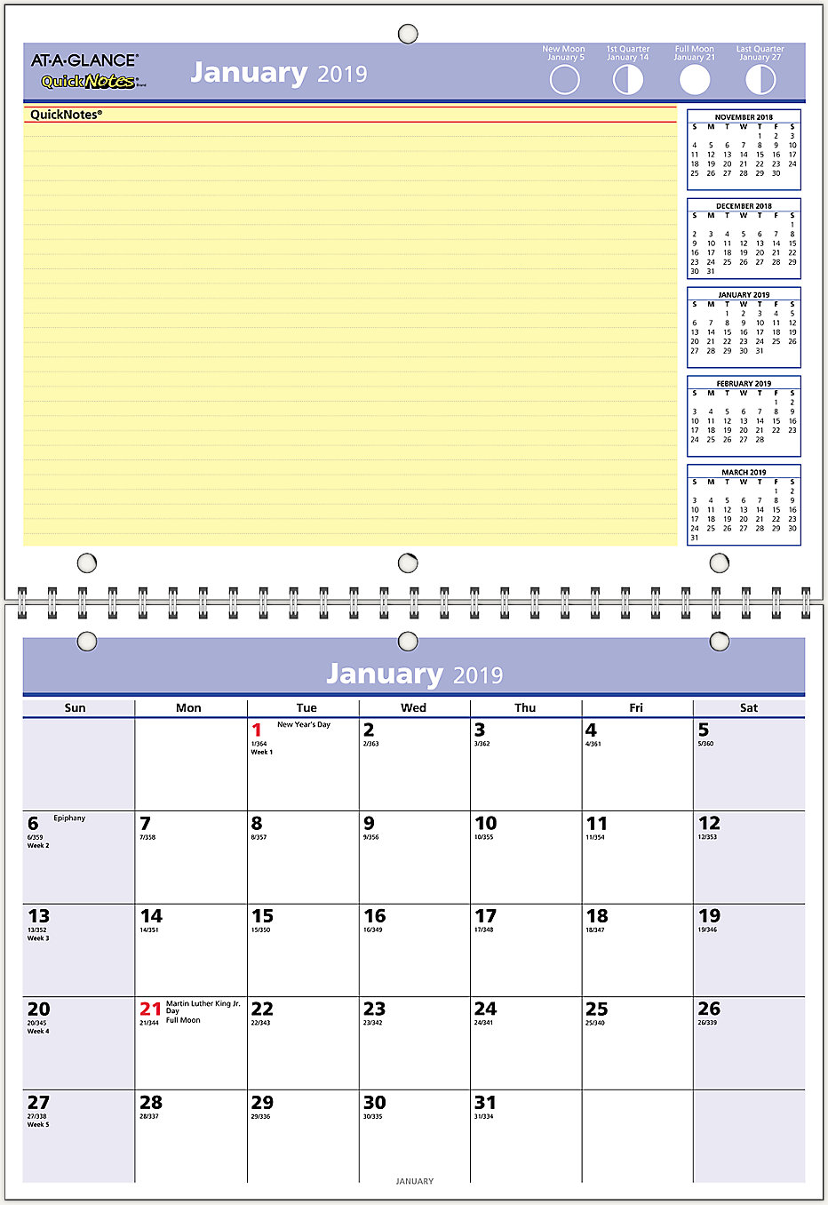 QuickNotes Monthly Wall Calendar | PM50 | AT-A-GLANCE