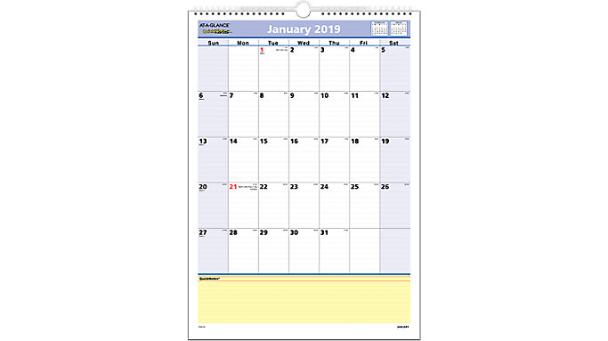 AT-A-GLANCE QuickNotes Monthly Wall Calendar  (PM52)
