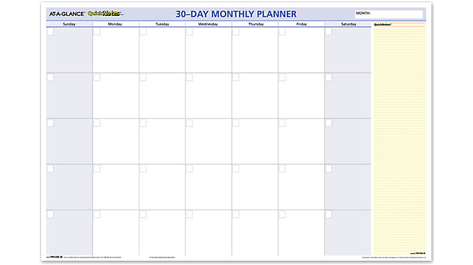 AT-A-GLANCE QuickNotes 30-Day Undated Horizontal Erasable Wall Calendar  (PM530B)