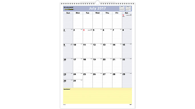 AT-A-GLANCE QuickNotes Academic Monthly Wall Calendar  (PM53)