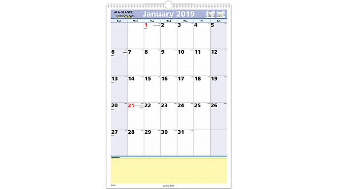 AT-A-GLANCE QuickNotes Monthly Wall Calendar  (PM54)
