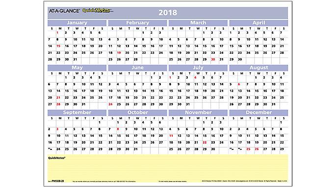 AT-A-GLANCE QuickNotes Compact Erasable Wall Calendar  (PM550B)