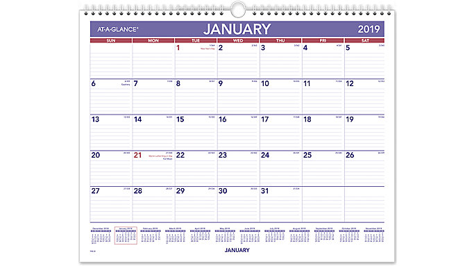 monthly wall calendar pm8 at a glance
