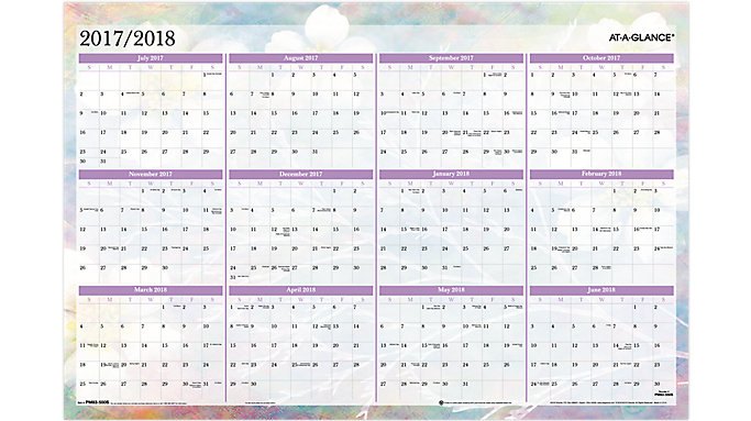 AT-A-GLANCE Dreams 2-Sided Academic-Regular Year Erasable Wall Calendar  (PM83-550S)