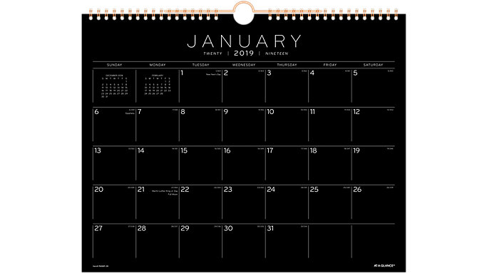 AT-A-GLANCE Black Paper Monthly Wall Calendar  (PM8BP)