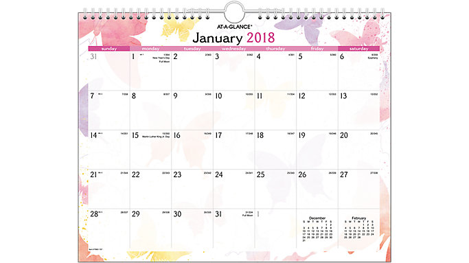 AT-A-GLANCE Watercolors Recycled Wall Calendar  (PM91-707)