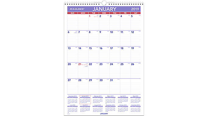 AT-A-GLANCE Laminated Monthly Wall Calendar  (PMLM02)
