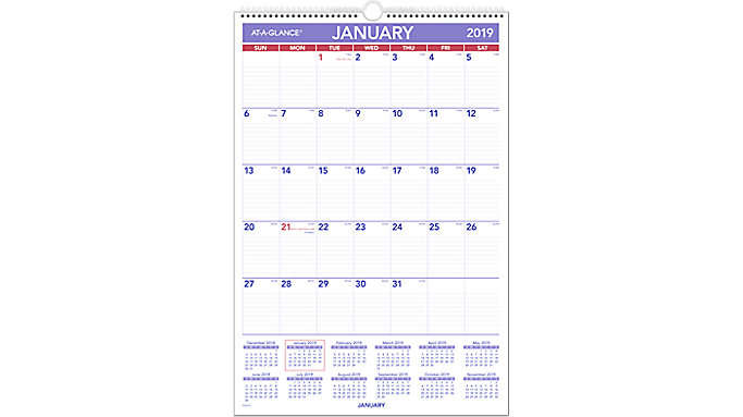 AT-A-GLANCE Laminated Monthly Wall Calendar  (PMLM03)