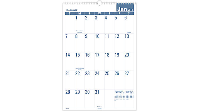 AT-A-GLANCE Easy to Read Monthly Wall Calendar  (PMLP3)