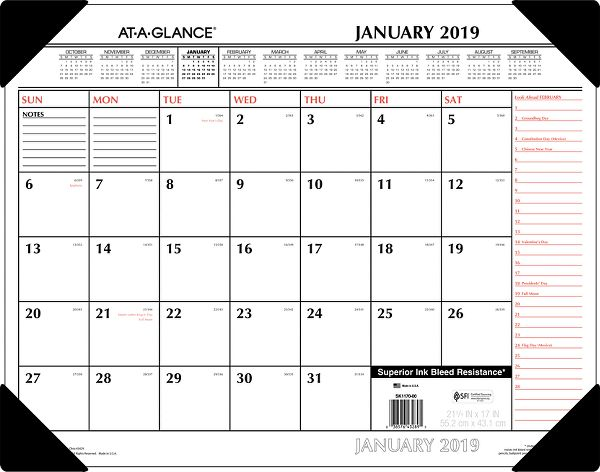 At-A-Glance 2 Color Monthly Desk Pad -