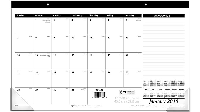 AT-A-GLANCE Compact Monthly Desk Pad  (SK14)