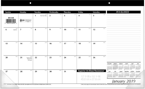 At-A-Glance Compact Monthly Desk Pad - Calendars