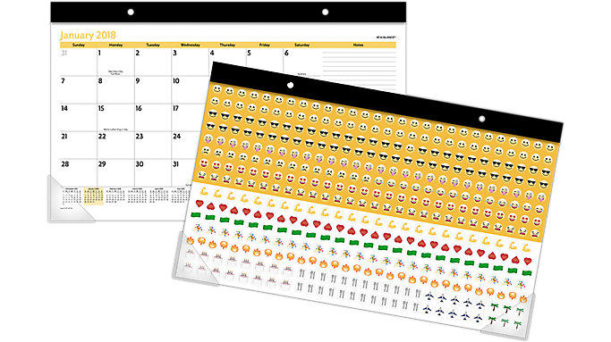 AT-A-GLANCE Emoji Compact Monthly Desk Pad with Stickers  (SK14E)